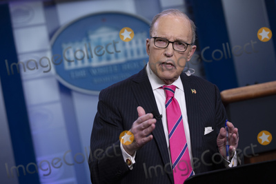 The National Photo - Director of the National Economic Council Larry Kudlow speaks to members of the media following a television interview in the James S Brady Press Briefing Room at the White House in Washington DC US on Thursday February 13 2020Credit Stefani Reynolds  CNPAdMedia