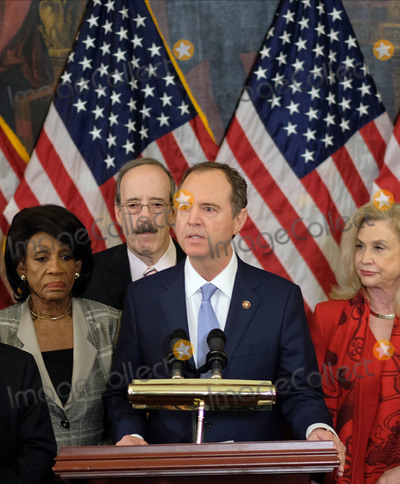 Adam Schiff Photo - United States Representative Adam Schiff (Democrat of California) Chairman US House Permanent Select Committee on Intelligence speaks alongside (L-R) United States Representative Maxine Waters (Democrat of California) Representative Eliot Engel (Democrat of New York) and United States Representative Carolyn Maloney (Democrat of New York) at a news conference laying out articles of impeachment for President Donald J Trump on Capitol Hill in Washington DC on Tuesday December 10 2019 Credit Alex Wroblewski  CNPAdMedia