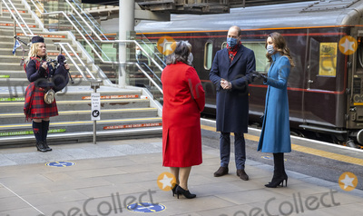 Train Photo - Photo Must Be Credited Alpha Press 073074 07122020Prince William Duke of Cambridge and Kate Duchess of Cambridge Catherine Katherine Middleton are greeted by with Deputy Lord Lieutenant Sandra Cumming and piper Louise Marshall as they disembark the Royal train as they arrive at Edinburgh Waverley station in Edinburgh Scotland on their first full day of engagements on their tour of the UK During their trip their Royal Highnesses hope to pay tribute to individuals organisations and initiatives across the country that have gone above and beyond to support their local communities this year No UK Rights Until 28 Days from Picture Shot Date 7th December 2020 - Prince William Duke of Cambridge and Kate Duchess of Cambridge Catherine Katherine Middleton are greeted by with Deputy Lord Lieutenant Sandra Cumming as they disembark the Royal train as they arrive at Edinburgh Waverley station in Edinburgh Scotland on their first full day of engagements on their tour of the UK During their trip their Royal Highnesses hope to pay tribute to individuals organisations and initiatives across the country that have gone above and beyond to support their local communities this year Photo Credit ALPRAdMedia