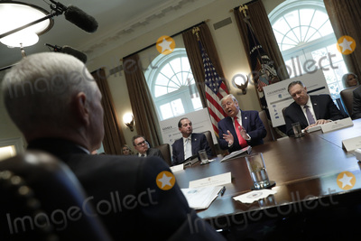 Andrew Wheeler Photo - United States President Donald J Trump speaks during a Cabinet Meeting at the White House in Washington DC on October 21 2019 Pictured from left to right US Vice President Mike Pence Administrator of the US Environmental Protection Agency Andrew Wheeler US Secretary of Health and Human Services (HHS) Alex Azar The President US Secretary of State Mike Pompeo Photo Credit Yuri GripasCNPAdMedia