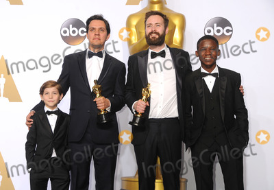 Benjamin Cleary Photo - 28 February 2016 - Hollywood California - Shan Christopher Ogilvie (2nd from L) and director Benjamin Cleary (2nd from R) winners of the Best Live Action Short award for Stutterer pose with actors Jacob Tremblay (L) and Abraham Atta 88th Annual Academy Awards presented by the Academy of Motion Picture Arts and Sciences held at Hollywood  Highland Center Photo Credit Byron PurvisAdMedia