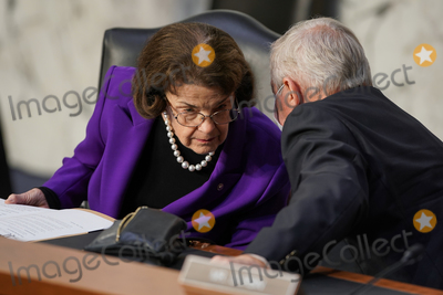 Dianne Feinstein Photo - United States Senator Dianne Feinstein (Democrat of California) Ranking Member US Senate Judiciary Committee speaks to US Senate Minority Whip Dick Durbin (Democrat of Illinois) during a Senate Judiciary Committee business meeting prior to the fourth day for the confirmation hearing of President Donald Trumps Supreme Court nominee Judge Amy Coney Barrett on Thursday October 15 2020Credit Greg Nash  Pool via CNP