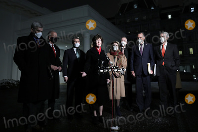 Jerry Moran Photo - United States Senator Susan Collins (Republican of Maine) makes a statement to the media along with fellow Republican US Senators after their meeting with US President Joe Biden and Vice President Kamala Harris about the American Rescue Plan in the Oval Office at the White House in Washington DC on February 1 2020  Pictured from left to right US Senator Bill Cassidy (Republican of Louisiana) US Senator Jerry Moran (Republican of Kansas) US Senator Todd Young (Republican of Indiana) Sen Collins US Senator Shelley Moore Capito (Republican of West Virginia) US Senator Thom Tillis (Republican of North Carolina) US Senator Mitt Romney (Republican of Utah) and US Senator Rob Portman (Republican of Ohio)Credit Yuri Gripas  Pool via CNPAdMedia