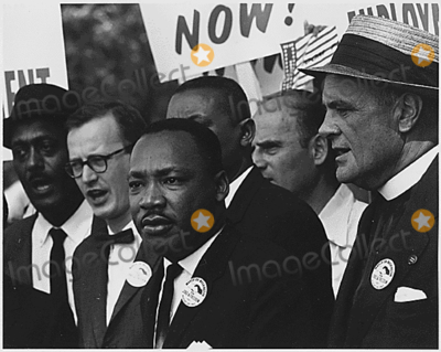Martin Luther King Jr Photo - Dr Martin Luther King Jr President of the Southern Christian Leadership Conference and Mathew Ahmann Executive Director of the National Catholic Conference for Interrracial Justice in a crowd in Washington DC on August 28 1963  John Lewis is partially obscured at far leftCredit National Archives via CNPAdMedia