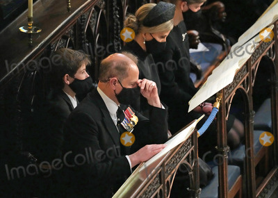 Prince Edward Photo - Photo Must Be Credited Alpha Press 073074 17042021Prince Edward Earl of Wessex Sophie Countess of Wessex Lady Louise Windsor and Viscount Severn James Alexander Philip Theo Mountbatten Windsor during the funeral of Prince Philip Duke of Edinburgh at St Georges Chapel in Windsor Castle in Windsor Berkshire No UK Rights Until 28 Days from Picture Shot Date AdMedia