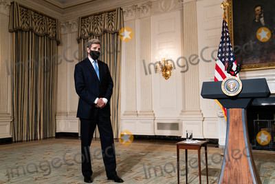 The Specials Photo - John Kerry the Special Presidential Envoy for Climate waits for the start of an event on President Joe Bidens administrations response to climate change in the State Dining Room of the White House in Washington DC January 27th 2021 (Anna MoneymakerNYT) Credit Anna Moneymaker  Pool via CNPAdMedia