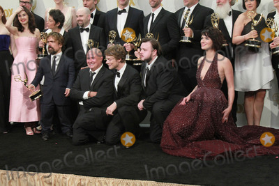 Alfie Allen Photo - 20 September 2015 - Los Angeles California - Sophie Turner Gwendoline Christie Maisie Williams Nikolaj Coster-Waldau Carice van Houten writer David Benioff actor Peter Dinklage Conleth Hill writer D B Weiss Lena Headey director David Nutter and actors John Bradley-West and Alfie Allen winners of Outstanding Drama Series for Game of Thrones 67th Annual Primetime Emmy Awards Press Room held at Microsoft Theater Photo Credit Theresa BoucheAdMedia