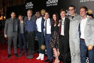 Thomas Sangster Photo - Ki Hong Lee Alex Flores Joe Adler Dexter Darden Dylan OBrien Kaya Scodelario Thomas Sangster Will Poulter Chris Sheffieldat the Maze Runner The Death Cure Fan Screening AMC 15 Century City CA 01-18-18
