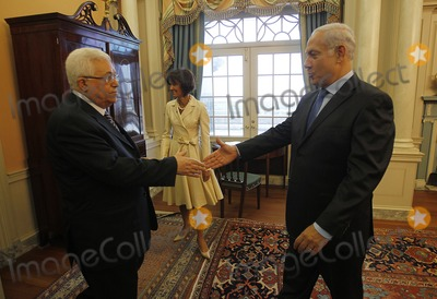 ABBA Photo - Israels Prime Minister Benjamin Netanyahu (R) greets President of the Palestinian Authority Mahmoud Abbas the Monroe Room of the State Department in Washington September 2 2010 moments before their direct talks aimed at peace in the Middle EastPhoto by Jason ReedPoolCNP-PHOTOlinknet
