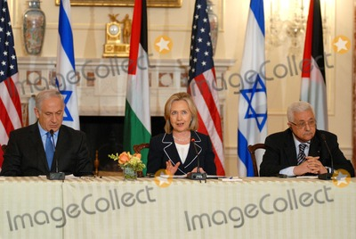 ABBA Photo - Washington DC 9022010RESTRICTED NEW YORKNEW JERSEY OUTNO NEW YORK OR NEW JERSEY NEWSPAPERS WITHIN A 75  MILE RADIUSSecretary Clinton hosts Abbas and Netanyahu peace talksSecretary of State Hillary Clinton hosts the re-launch of direct negotiations between Israeli Prime Minister Benjamin Netanyahu and Palestinian Authority President Mahmoud Abbas at the US State Department (center) Secretary Clinton (left) Netanyahu and (right) Abbas start with opening remarks to the media to mark the start of the negotiationsDigital photo by Elisa Miller-PHOTOlinknet
