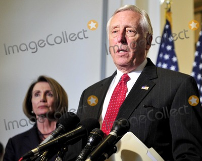 House Speaker Nancy Pelosi Photo - HOUSE DEMOCRATS CAUCUSUnited States House Majority Leader Steny Hoyer (Democrat of Maryland) makes a statement following the meeting where US House Democrats selected their leadership for the 112th Congress in Washington DC on Wednesday November 17 2010  Hoyer will serve as the US House Democratic Whip in the new Congress  At left is US House Speaker Nancy Pelosi (Democrat of California) who will serve as Minority (Democratic) Leader in the new CongressPhoto by Ron SachsCNP-PHOTOlinknet