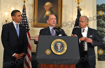 Arlen Specter Photo - Washington DC - April 29 2009 -- United States Senator Arlen Specter (Democrat of Pennsylvania) makes a statement as US President Barack Obama welcomes him to the Democratic Party   From left to right President Obama Senator Specter and Vice President Joseph Biden Digital Photo by Ron SachsPOOL-CNP-PHOTOlinknet