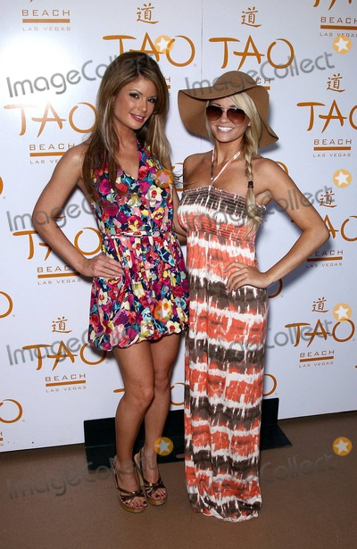 Angel Porrino Photo - Playmate Laura Croft wears a floral dress then a yellow bikini and Hollys Worlds Angel Porrino chooses a tied-eyed dress and large hat as they host TAO Beach The Best Easter Egg Hunt Ever at the Venetian Las Vegas NV 042311