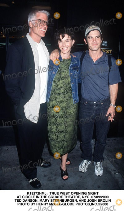Mary Steenburgen Photo -  True West Opening Night at Circle in the Square Theatre NYC 07092000 Ted Danson Mary Steenburgen and Josh Brolin Photo by Henry McgeeGlobe Photosinc