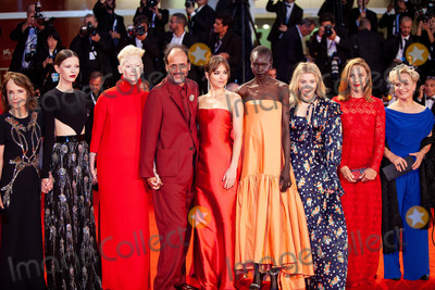 Alek Wek Photo - VENICE ITALY - SEPTEMBER 01 (L-R) Jessica Harper Mia Goth Tilda Swinton Luca Guadagnino Dakota Johnson Alek Wek Chloe Grace Moretz Fabrizia Sacchi walk the red carpet ahead of the Suspiria screening during the 75th Venice Film Festival at Sala Grande on September 1 2018 in Venice Italy(Photo by Laurent KoffelImageCollectcom)