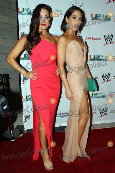 Nikki Bella Photo - WWE Divas Nikki Bella (L) and Brie Bella arriving at the  WrestleMania Premiere party on March 29 2012 in Miami Beach Florida