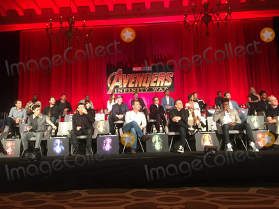 Anthony Mackie Photo - Winston Duke Dave Bautista Don Cheadle Elizabeth Olsen  Mark Ruffalo Tom Hiddleston Sebastian Stan Anthony Mackie Pom Klementieff Chris Pratt Scarlett Johansson Kevin Feige Robert Downey Jr Zoe Saldana Chris Hemsworth Letitia Wright Tom Holland Anthony Russo Josh Brolin Joe Russo Chadwick Boseman Paul Bettany 04222018 Avengers Infinity War Press Conference held at The Montage Beverly Hills Luxury Hotel in Beverly Hills CA Photo by Izumi Hasegawa  HollywoodNewsWireco