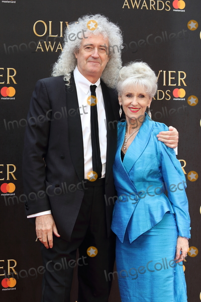 Anita Dobson Photo - London UK Brian May and Anita Dobson at The Olivier Awards 2018 at the Royal Albert Hall Kensington Gore London on Sunday 08 April 2018Ref LMK73-J1865-090418Keith MayhewLandmark MediaWWWLMKMEDIACOM