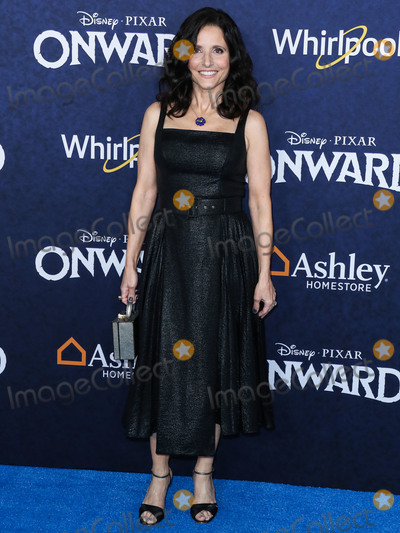 Julia Louis-Dreyfus Photo - HOLLYWOOD LOS ANGELES CALIFORNIA USA - FEBRUARY 18 Actress Julia Louis-Dreyfus wearing an Emilia Wickstead dress with Irene Neuwirth jewelry arrives at the World Premiere Of Disney And Pixars Onward held at the El Capitan Theatre on February 18 2020 in Hollywood Los Angeles California United States (Photo by Xavier CollinImage Press Agency)