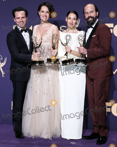 Andrew Scott Photo - LOS ANGELES CALIFORNIA USA - SEPTEMBER 22 Andrew Scott Phoebe Waller-Bridge Sian Clifford and Brett Gelman pose in the press room at the 71st Annual Primetime Emmy Awards held at Microsoft Theater LA Live on September 22 2019 in Los Angeles California United States (Photo by Xavier CollinImage Press Agency)