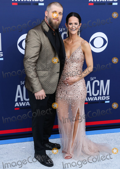 Amber Cochran Photo - LAS VEGAS NEVADA USA - APRIL 07 Brantley Gilbert and Amber Cochran arrive at the 54th Academy Of Country Music Awards held at the MGM Grand Garden Arena on April 7 2019 in Las Vegas Nevada United States (Photo by Xavier CollinImage Press Agency)