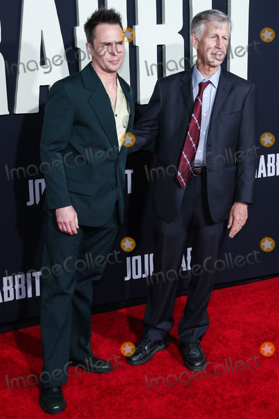 Sam Rockwell Photo - HOLLYWOOD LOS ANGELES CALIFORNIA USA - OCTOBER 15 Actor Sam Rockwell and father Pete Rockwell arrive at the Los Angeles Premiere Of Fox Searchlights Jojo Rabbit held at the Hollywood American Legion Post 43 on October 15 2019 in Hollywood Los Angeles California United States (Photo by David AcostaImage Press Agency)