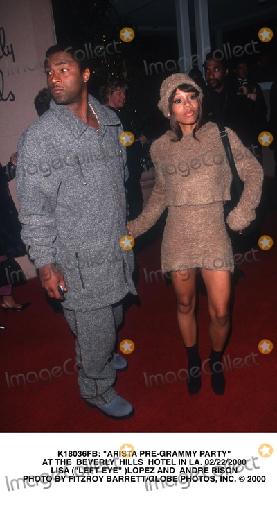 Andre Rison Photo -  Arista Pre-grammy Party at the Beverly Hills Hotel in LA 02222000 Lisa (Left Eye )Lopez and Andre Rison Photo by Fitzroy BarrettGlobe Photos Inc