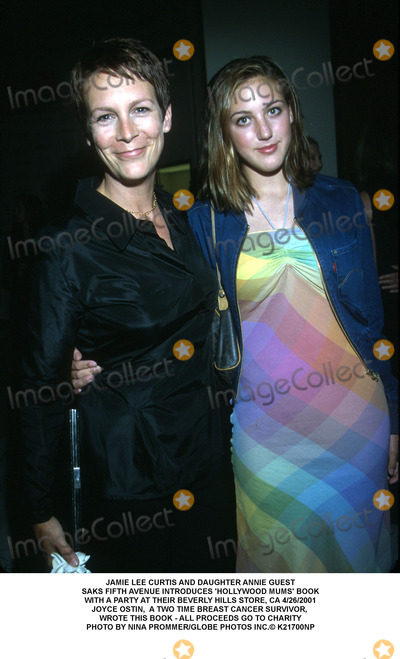 Annie Guest Photo - JAMIE LEE CURTIS AND DAUGHTER ANNIE GUESTSAKS FIFTH AVENUE INTRODUCES HOLLYWOOD MUMS BOOKWITH A PARTY AT THEIR BEVERLY HILLS STORE CA 4262001JOYCE OSTIN  A TWO TIME BREAST CANCER SURVIVOR WROTE THIS BOOK - ALL PROCEEDS GO TO CHARITYPHOTO BY NINA PROMMERGLOBE PHOTOS INC K21700NP