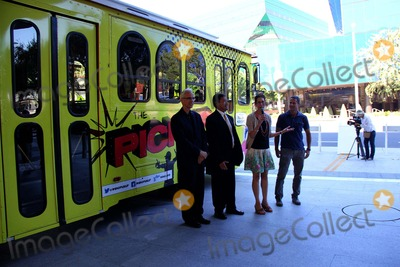 Abbe Land Photo - City of West Hollywood Launches the Pickup Line Entertainment Shuttle West Hollywod Public Library West Hollywood CA 08092013 Councilmember John Heilman Mayor Pro Tempore John Damico West Hollywood Mayor Abbe Land and Councilmember John Jduran Announces the Pickup Line Trolley Service and Entertainment Shuttle Photo Clinton H Wallace-photomundo-Globe Photos Inc