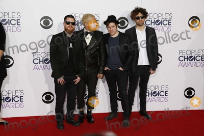 Andy Hurley Photo - Musicians Andy Hurley (l-r) Peter Wentz Patrick Stump and Joe Trohman of Music Group Fall Out Boy Arrive at the 41st Peoples Choice Awards in Los Angeles USA 07 January 2015 Photo Alec Michael