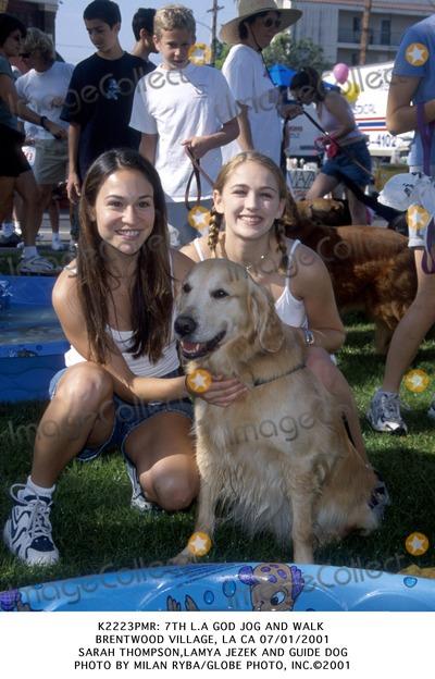 Lamya Photo -  7th LA God Jog and Walk Brentwood Village LA CA 07012001 Sarah Thompsonlamya Jezek and Guide Dog Photo by Milan RybaGlobe Photo Inc