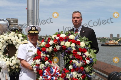 American Flag Photo - Intrepid Sea Air  Space Museum Memorial Day Ceremony 2014 Service Men and Women and Dignitaries Pay Respect to the Fallen Soldiers  Sailor  Marines Who Lost There Lives Defining Our Country Wreath Ceremony  Gun Salute and Unfurling of 100 Foot American Flag Admiral Bill Gortney NYC Mayor Bill de Blasio Photo by Bruce Cotler-Globe Photosinc