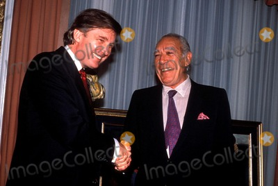 Anthony Quinn Photo - Donald Trump with Anthony Quinn Photo John Barrett  Globe Photos Inc 1989 Donaldtrumpretro