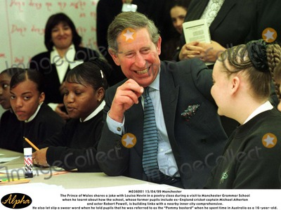 Robert Powell Photo - M036001 150499 ManchesterThe Prince of Wales shares a joke with Louisa Nevin in a poetry class during a visit to Manchester Grammar Schoolwhen he learnt about how the school whose former pupils include ex-England cricket captain Michael Athertonand actor Robert Powell is building links with a nearby inner city comprehensiveHe also let slip a swear word when he told pupils that he was referred to as the Pommy bastardwhen he spent time in Australia as a 16-year-old