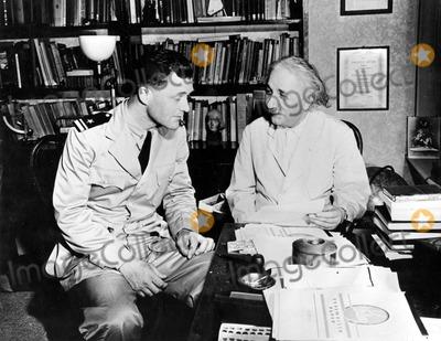 Albert Einstein Photo - Lt (Jg) Clifford L Comstock Visits Dr Albert Einstein at His Home in Princeton NJ Globe Photos Inc
