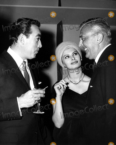 Anthony Quinn Photo - Anthony Quinn Sophia Loren and Jacques Tati Nate CutlerGlobe Photos Inc