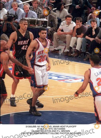 Allan Houston Photo -  NY Nicks Vs Miami Heat Playoff at Msg NYC 05142000 Allan Houston and Pj Brown Photo by John BarrettGlobe Photosinc