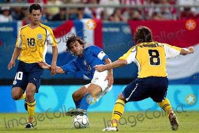 Andrea Pirlo Photo - Athens Olympic Games 2004 Olympic Soccer Italy Vs Paraguay 08182004 Photo by Marco RosilapresseGlobe Photosinc Andrea Pirlo Marcato Da Diego Figueredo