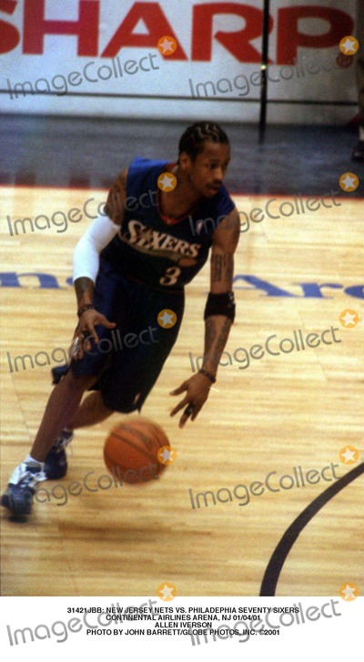 Allen Iverson Photo -  New Jersey Nets Vs Philadephia Seventy Sixers Continental Airlines Arena NJ 010401 Allen Iverson Photo by John BarrettGlobe Photos Inc