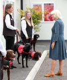Photo - 9th September 2020 - Camilla Duchess of Cornwall Patron of Medical Detection Dogs wears a visor during a visit to the charitys training centre where trials are currently underway to determine whether dogs can act as a diagnostic tool of COVID-19 in Milton Keynes Buckinghamshire Photo Credit ALPRAdMedia
