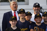 Group Photo Photo - United States President Donald J Trump poses for a group photo with young players to mark the Opening Day of the Major League Baseball Season on the South Lawn of the White House in Washington on July 23 2020 Credit Yuri Gripas  Pool via CNPAdMedia