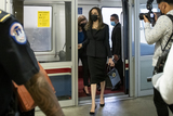 Photo - Actress Angelina Jolie makes her way through the Senate subway following a meeting with United States Senate Majority Leader Chuck Schumer (Democrat of New York) at the US Capitol in Washington DC Tuesday September 14 2021 Credit Rod Lamkey  CNP (RESTRICTION NO New York or New Jersey Newspapers or newspapers within a 75 mile radius of New York City)
