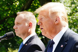 Photo - US President Donald J Trump (R) and Polish President Andrzej Duda hold a joint press conference in the Rose Garden of the White House in Washington DC USA 24 June 2020 Duda a conservative nationalist facing a tight re-election race back home is the first foreign leader to visit the White House in more than three monthsCredit Jim LoScalzo  Pool via CNPAdMedia