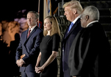 CLARENCE THOMAS Photo - From left to right Jesse Barrett  Judge Amy Coney Barrett United States President Donald J Trump and Associate Justice of the Supreme Court Clarence Thomas during the ceremony where Judge Barrett took the oath of office outside the Diplomat Room of the White House in Washington DC US October 26 2020 Credit Ken CedenoPool via CNPAdMedia